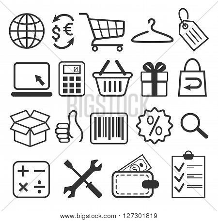 E-commerce Shopping Flat Icons Signs Collection Isolated on White Background