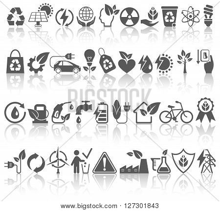 Eco Friendly Bio Green Energy Sources Black Icons Signs Set with Reflection Isolated on White Background