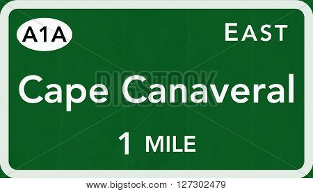 Cape Canaveral Usa Interstate Highway Sign