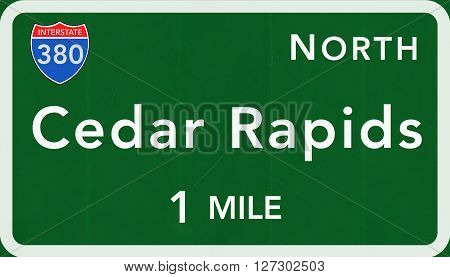 Cedar Rapids Usa Interstate Highway Sign