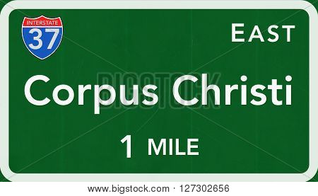 Corpus Christi Usa Interstate Highway Sign