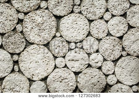 Background of Wall Made from Round Blocks