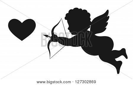Angel Amur Cupid on Wings with Bow Arrow and Heart White and Black Icon Sign Isolated on White Background