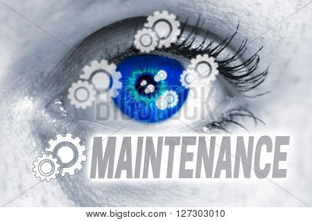 maintenance eye looks at viewer concept background