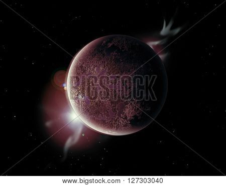Red Planet In The Universe With Aura And Stars