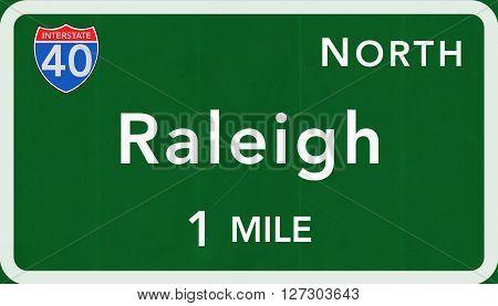 Raleigh Usa Interstate Highway Sign