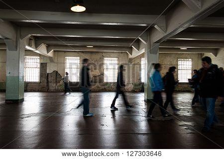 San Francisco, CA, May 13 2015: Alcatraz penitentiary interior dining area