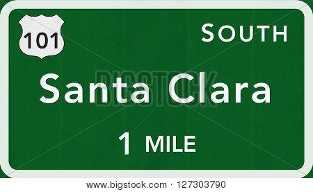 Santa Clara Usa Interstate Highway Sign
