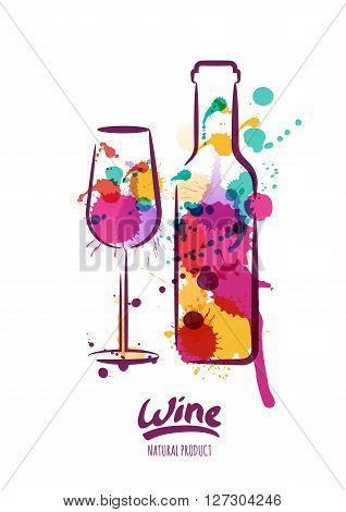 Vector watercolor illustration of colorful wine bottle and wine glass. Abstract watercolor background. Design concept for wine label wine list menu party poster alcohol drinks.