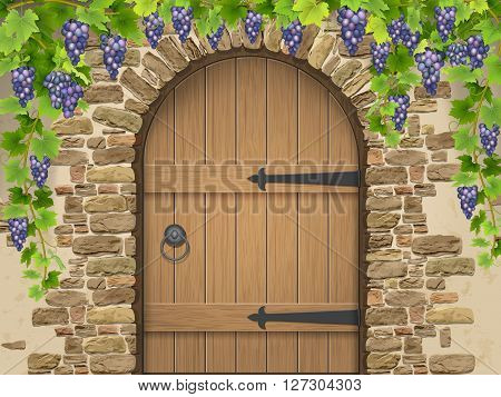 Entrance to the wine cellar decorated with bunches of grapes. Arch of stone wooden door and vine grapes. Vector Illustration about winemaking and viticulture grape growing.