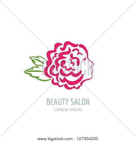 Female profile face in rose flower shape. Woman with rose petals in hair. Vector beauty floral logo sign label design. Concept for beauty salon massage spa natural cosmetics hairstyle.
