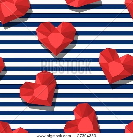 Vector Seamless Pattern With Red Gem Stones In Heart Shape And Blue Stripes.