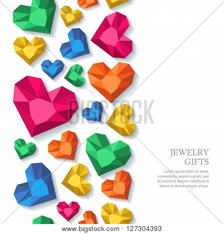 Vector Seamless Vertical Background With Diamonds, Gems, Jewels In Heart Shape.