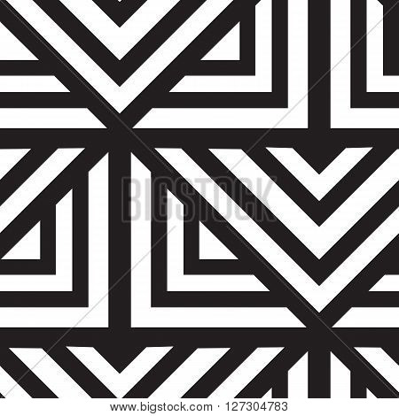 Vector geometric seamless pattern. Repeating abstract lines pattern in black and white. Classical triangle flat texture, pattern design 80s style