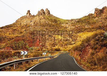 Road in Parque Natural de Pilancones in Gran Canaria, Canary Islands, Spain