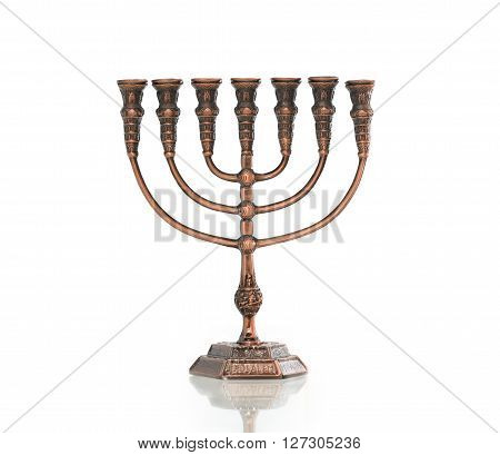 Traditional jewish menorah on white background. Clipping path is included