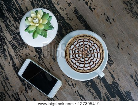 Cups Of Mocha Coffee On Wood Table
