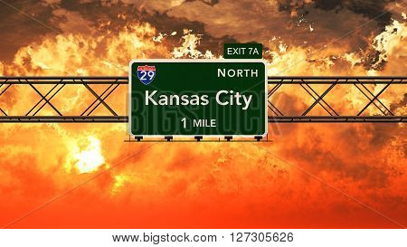 Kansas City Usa Interstate Highway Sign In A Beautiful Cloudy Sunset Sunrise