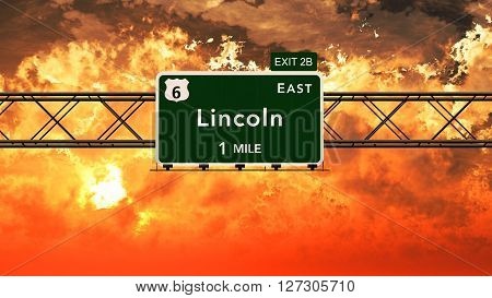 Lincoln Usa Interstate Highway Sign In A Beautiful Cloudy Sunset Sunrise