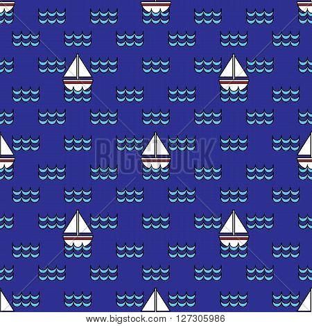 Sailboats Seamless Pattern