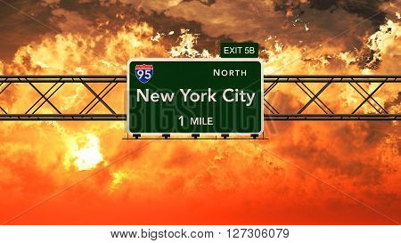 New York City Usa Interstate Highway Sign In A Beautiful Cloudy Sunset Sunrise