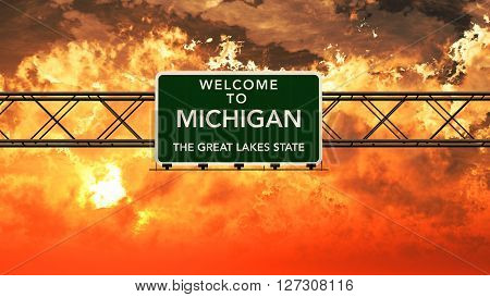 Welcome To Michigan Usa Interstate Highway Sign In A Breathtaking Cloudy Sunset