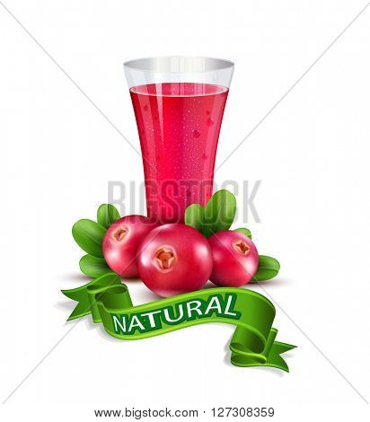 glass cup with juice of cranberries isolated on white background