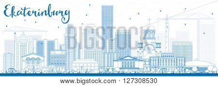 Outline Ekaterinburg Skyline with Blue Buildings. Vector Illustration. Business Travel and Tourism Concept with Modern Buildings. Image for Presentation Banner Placard and Web Site.