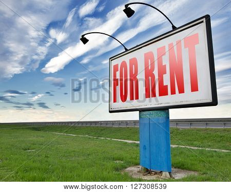 for rent or to let a house, an appartment, a car renting is cheaper