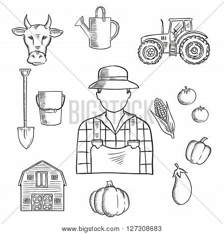 Sketch of farmer or farm worker with tractor, barn, fresh tomatoes, eggplant, pumpkin, corn and pepper vegetables, cow, watering can, spade and bucket. Great for agriculture mascot or farmers market symbol design