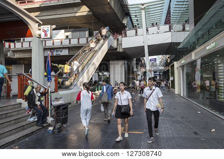 BANGKOK THAILAND - mar 5 : unidentified thai people and teenager at siam square near BTS siam station on march 5 2016 thailand. Siam square is famous shopping place of Bangkok