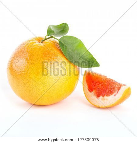 Grapefruit with slices isolated on white background