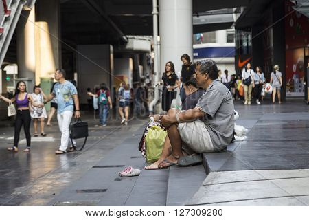 BANGKOK THAILAND - mar 5 : life of unidentified thai people at siam square on march 5 2016 thailand. Siam square is famous shopping place of Bangkok