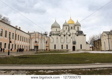 Veliky Novgorod, Russia - March 12, Saint Sophia Cathedral in Veliky Novgorod on the territory of the Kremlin, March 12, 2016. Buildings and monuments in the territory of the Novgorod Kremlin.
