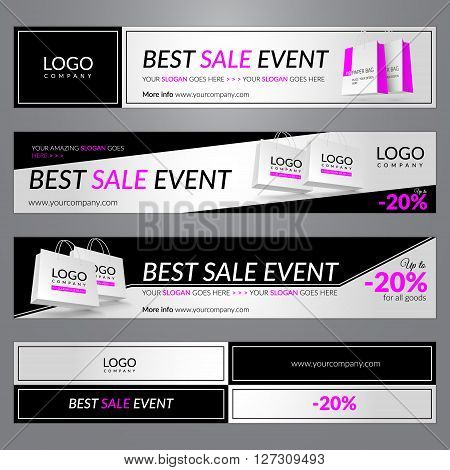 Best sale event. Set with corporate banners for website. Vector illustration. EPS 10