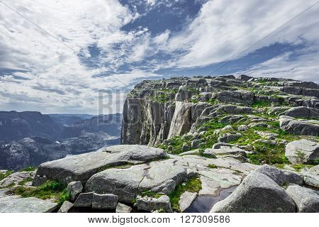 Trekking in Norwegian fjords - trail to Preikestolen aka the Pulpet Rock (Lysefjord)
