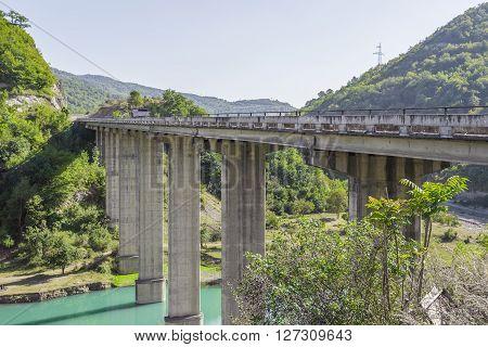 Bridge over the Aragvi River at Ananuri Georgia