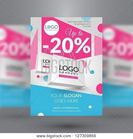 Sale event. Corporate flyer with paper bags. Vector illustration. EPS 10