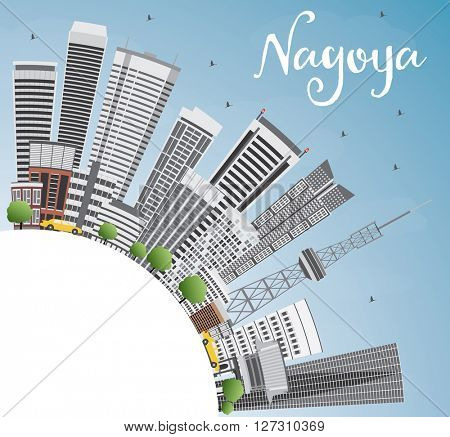 Nagoya Skyline with Gray Buildings, Blue Sky and Copy Space. Vector Illustration. Business and Tourism Concept with Modern Buildings. Image for Presentation, Banner, Placard or Web Site.