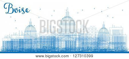 Outline Boise Skyline with Blue Buildings. Vector Illustration. Business travel and tourism concept with modern buildings. Image for presentation, banner, placard and web site.