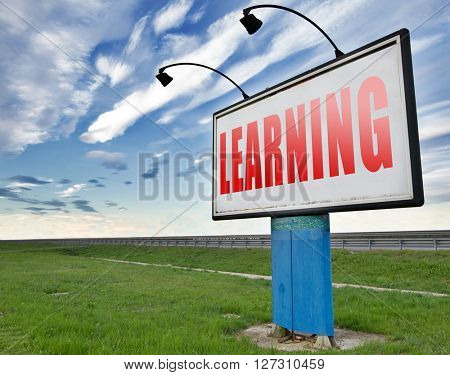 learn and study and find info or information sign. Online education and learning.
