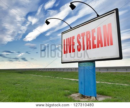 live stream music song audio or listen to radio streaming video road sign billboard