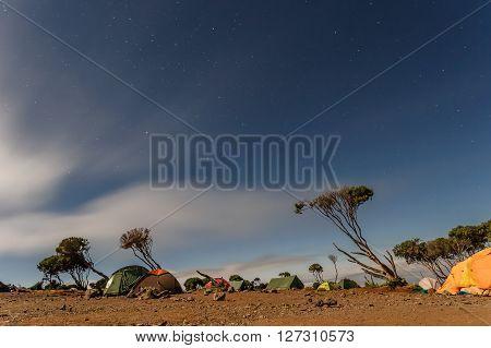 Climbing the mount Kilimanjaro Machame route - night view over the Shira hut (3766m) campsite (Tanzania)