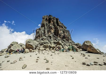 Climbing the mount Kilimanjaro Machame route - Lava Tower (4600m) campsite (Tanzania)