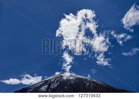 The top of the mount Kilimanjaro as seen from the ground (Tanzania)