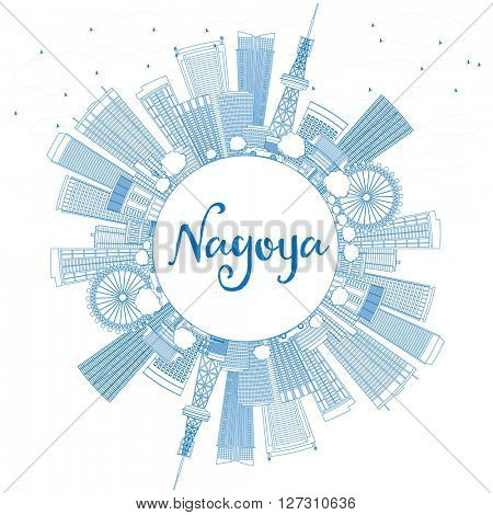 Outline Nagoya Skyline with Blue Buildings and Copy Space. Vector Illustration. Business and Tourism Concept with Modern Buildings. Image for Presentation, Banner, Placard or Web Site.