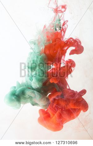Colorful ink in water on a white background