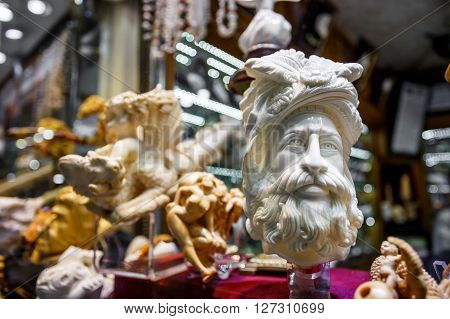 Handmade ivory products up for sale at the Grand Bazaar in the walled city of Istanbul (Turkey)