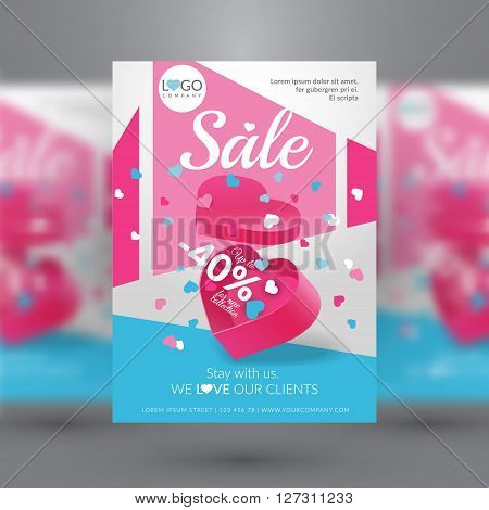 Sale event. Corporate flyer template with gift box in shape of heart with confetti. Vector illustration. EPS 10