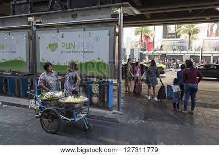 BANGKOK THAILAND - mar 5 : street food stall at siam square shopping street on march 5 2016 thailand. Siam square is famous shopping place of Bangkok